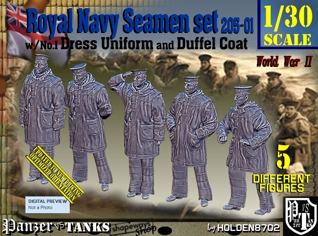 1/30 Royal Navy Seamen DC+No1 Set205-01 in White Natural Versatile Plastic