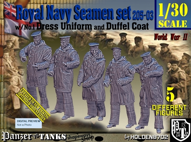 1/30 Royal Navy Seamen DC+No1 Set205-03 in White Natural Versatile Plastic