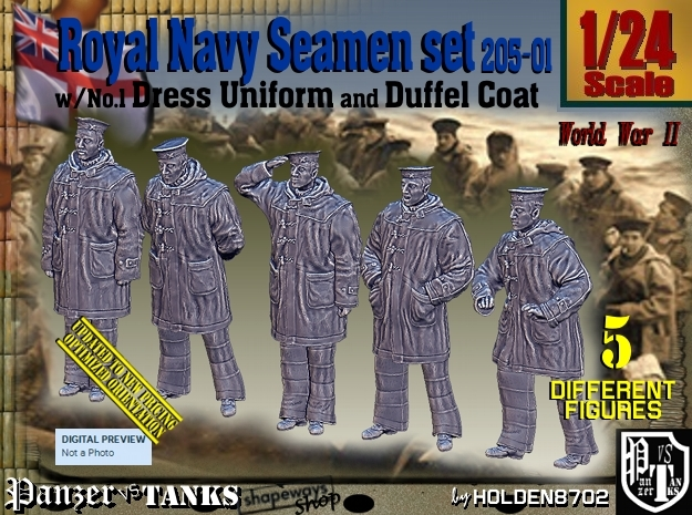 1/24 Royal Navy Seamen DC+No1 Set205-01 in White Natural Versatile Plastic