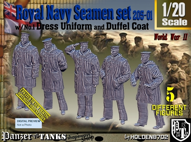 1/20 Royal Navy Seamen DC+No1 Set205-01 in White Natural Versatile Plastic