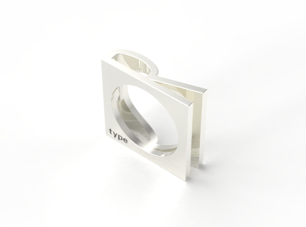 R RING SZ6.5 in Fine Detail Polished Silver