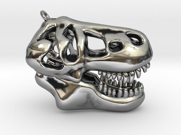 T-Rex Skull Pendant in Antique Silver