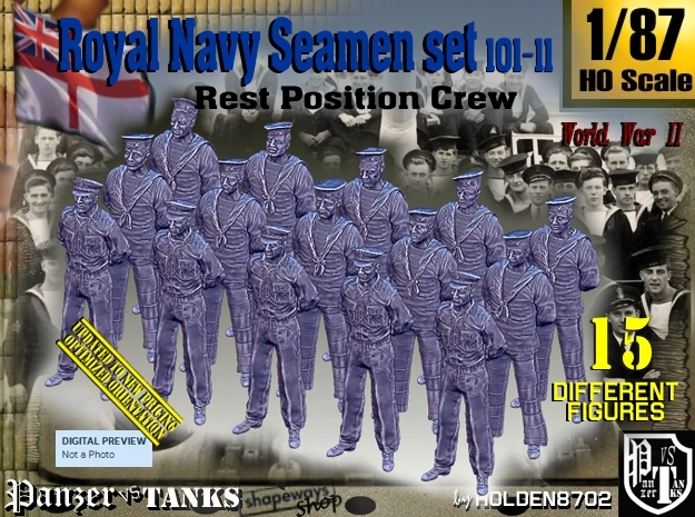 1/87 RN Seamen Rest Set101-11 in Smooth Fine Detail Plastic