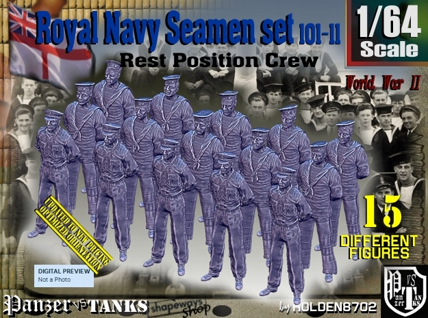 1/64 RN Seamen Rest Set101-11 in Smooth Fine Detail Plastic