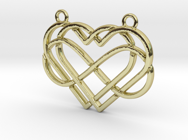 2 hearts & Infinite symbol intertwined in 18k Gold Plated Brass