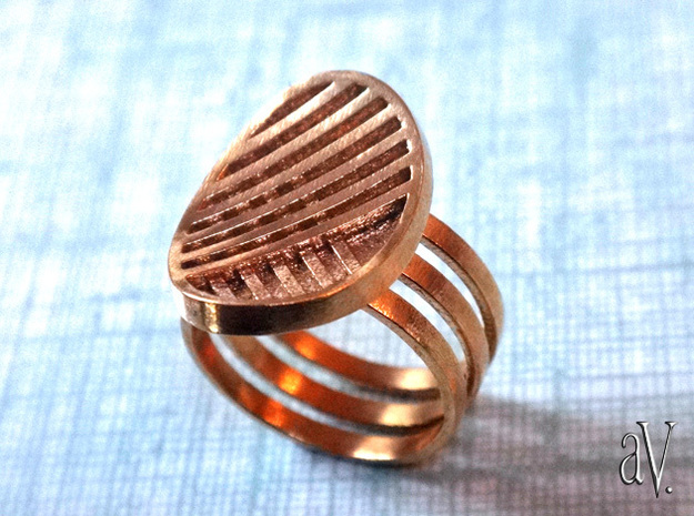 Three Stripe Ring in Natural Brass: 8 / 56.75