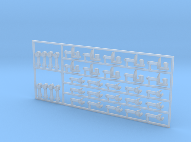 1:160-couplers N-NEM + Shaft - set 2 in Smoothest Fine Detail Plastic