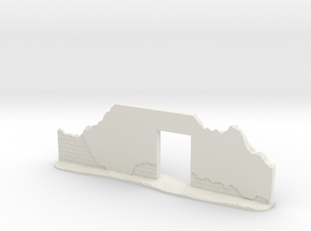 Damaged Brick Wall with Doorway (28mm Scale) in White Natural Versatile Plastic