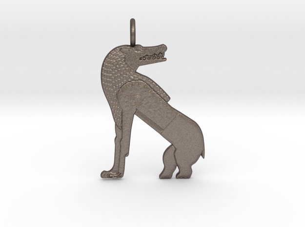 Ammut amulet in Polished Bronzed-Silver Steel