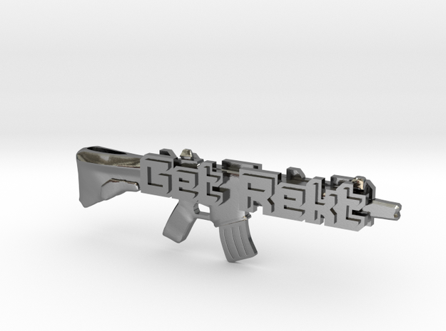Get Rekt M4A4 Pendant in Polished Silver