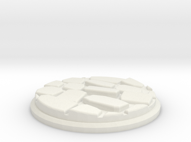 Uneven Cobbletone Base Plate (50mm) in White Natural Versatile Plastic