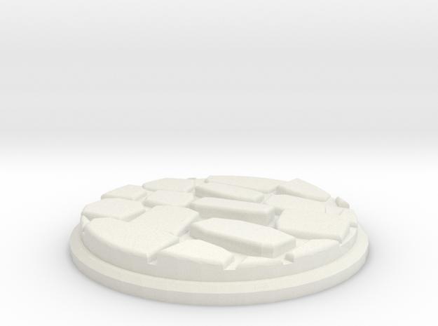 Uneven Cobblestone Miniature Base Plate (25mm) in White Natural Versatile Plastic