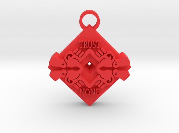 Trust None pendant 2 in Red Processed Versatile Plastic
