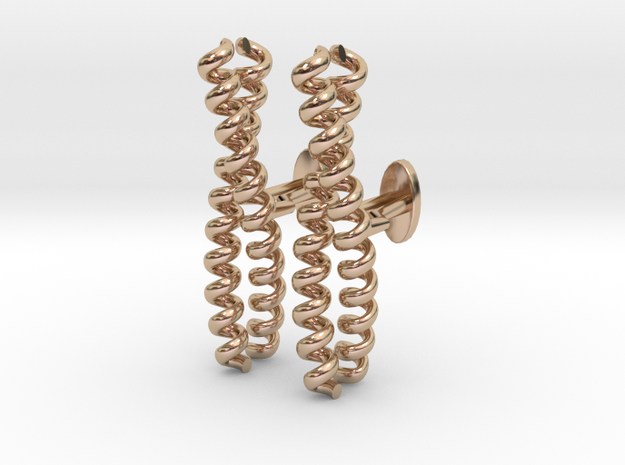 Dimeric coiled-coil cufflinks in 14k Rose Gold Plated Brass