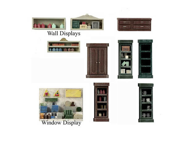 Interior Shelving Detailing, HO Scale Pack 3 in Smooth Fine Detail Plastic