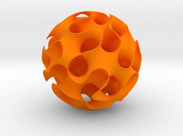 Gyroid, sphere cut in Orange Processed Versatile Plastic: Medium