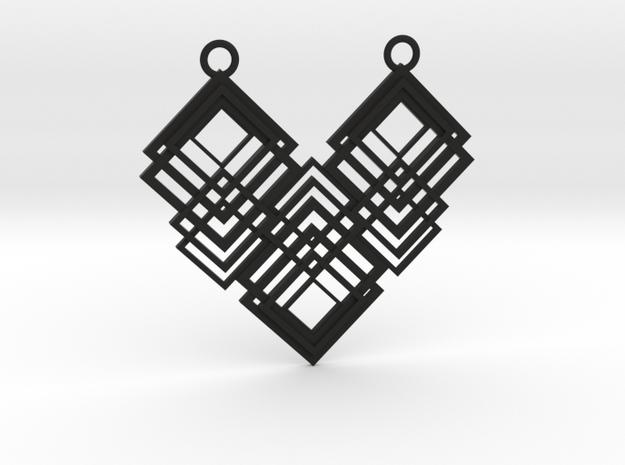 Geometrical necklace no.1 in Black Natural Versatile Plastic: Large