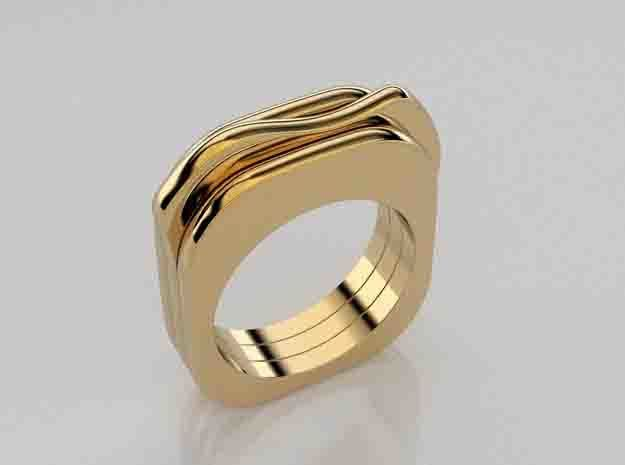 Trio of thin rings in 14K Yellow Gold: 5.5 / 50.25