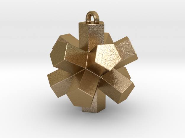 Dodecahedron Pendant in Polished Gold Steel