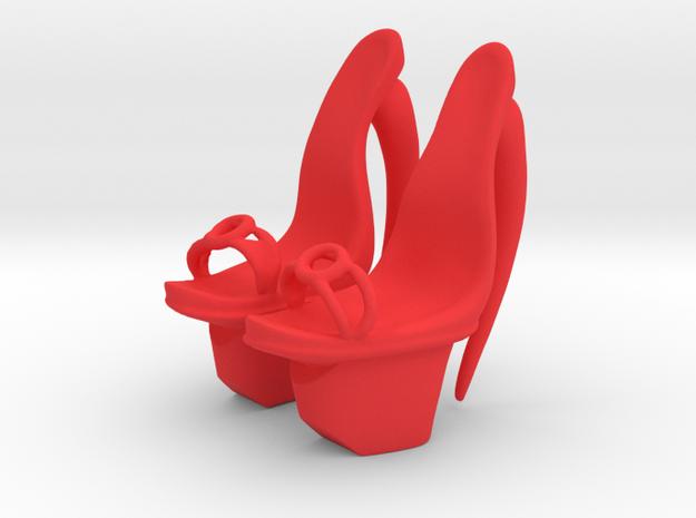 Star Burst Platform Shoes in Red Processed Versatile Plastic: Small