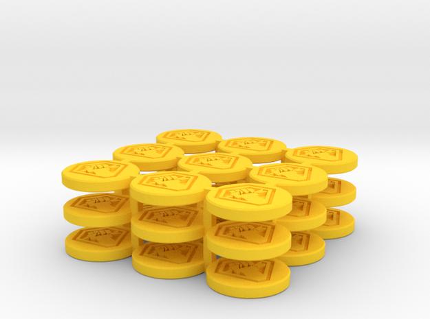 Token Malcontent 27P in Yellow Processed Versatile Plastic