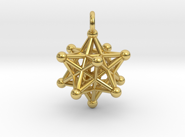 Stellated Dodecahedron small in Polished Brass