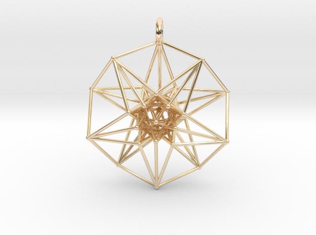 5dhypercube-42mm-1 in 14k Gold Plated Brass: Medium