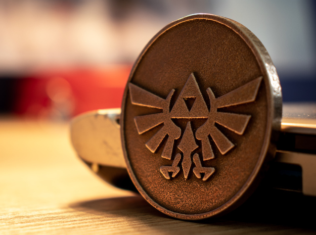 Zelda BotW Coin: Wingcrest and Sheikah Eye in Polished Bronzed-Silver Steel