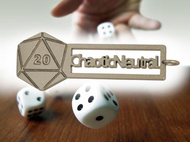 Chaotic Neutral RPG Keychain in Polished Bronzed-Silver Steel