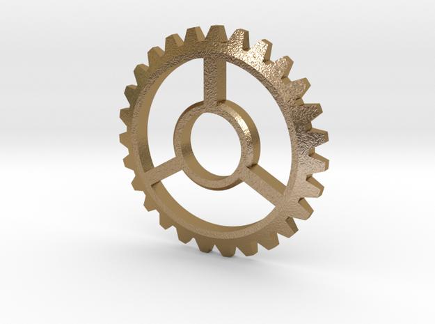 Gear Pendant in Polished Gold Steel