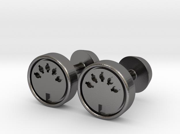 Midi Port Cufflinks in Polished Nickel Steel