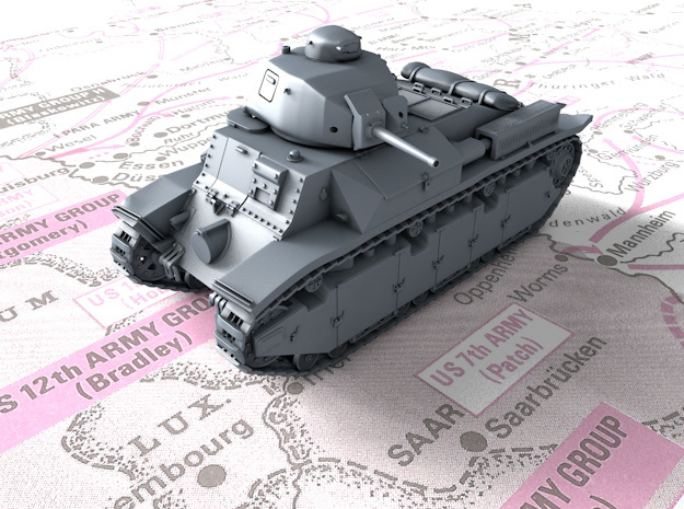 1/144 French Char D2 AMX4 SA35 Medium Tank in Smooth Fine Detail Plastic