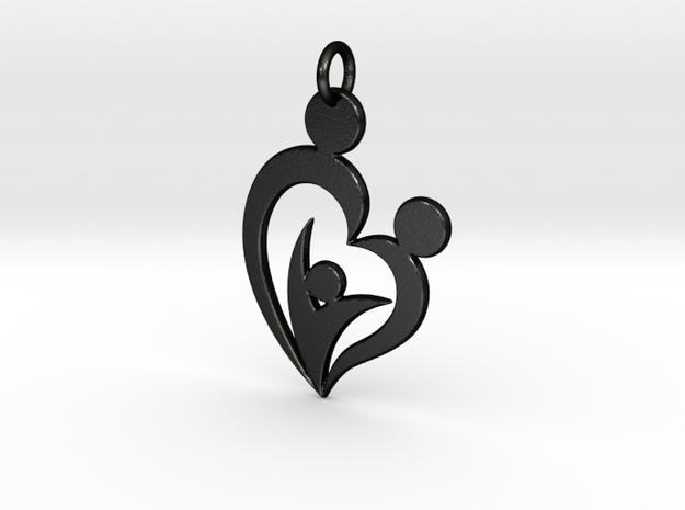 Family of Three Heart Shaped Pendant in Matte Black Steel
