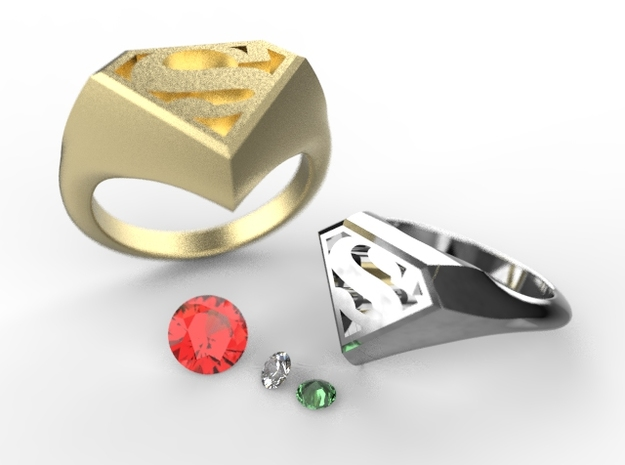 Superman Ring in Polished Brass: 5.5 / 50.25