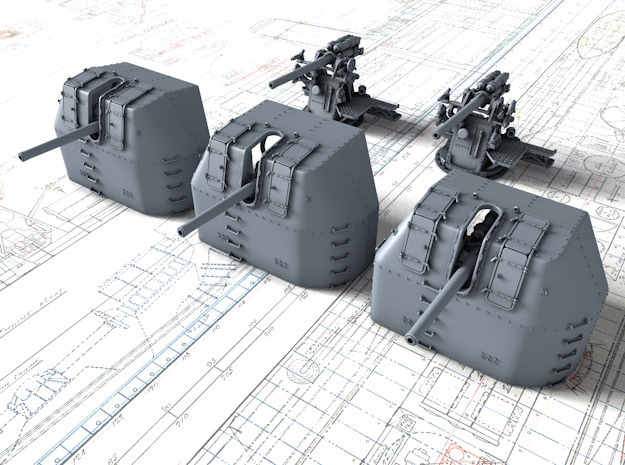 """1/500 RN 4"""" MKV P Class Guns Closed Ports x5 in Smoothest Fine Detail Plastic"""