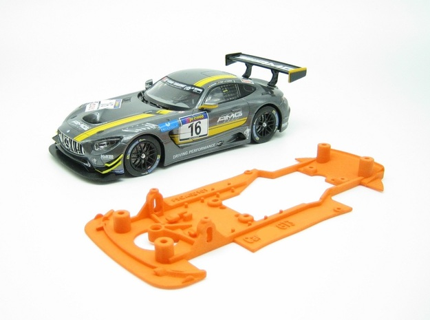 PSCA00101 Chassis for Carrera Mrcedes AM GT3 in Orange Processed Versatile Plastic