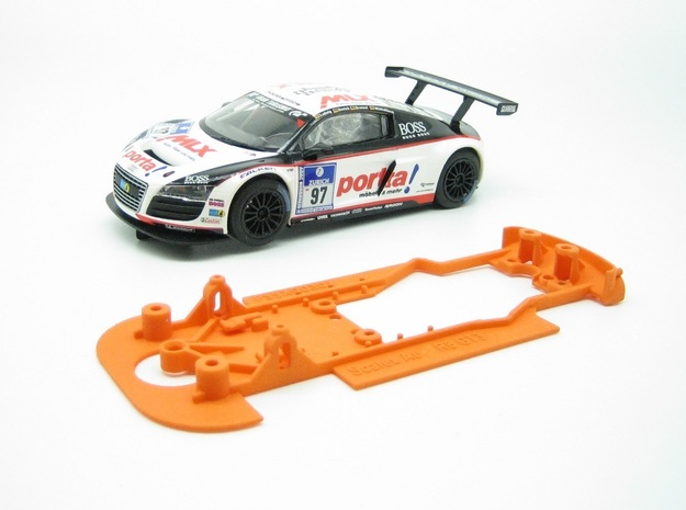 PSSX00301 Chassis for Scalextric Aud R8 LMS GT3 in Orange Processed Versatile Plastic
