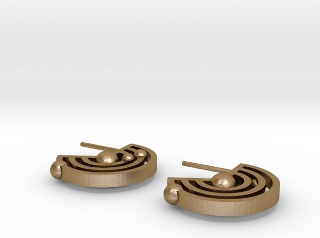 Orbital Ear-rings in Polished Gold Steel
