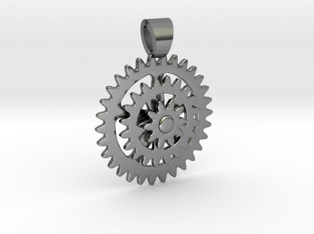 Bike sprocket [pendant] in Polished Silver