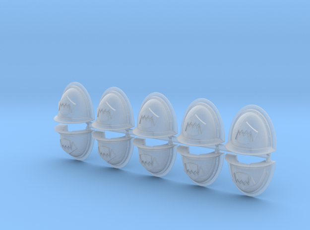 Toothed Mouth Mk2 shoulder pads in Smooth Fine Detail Plastic