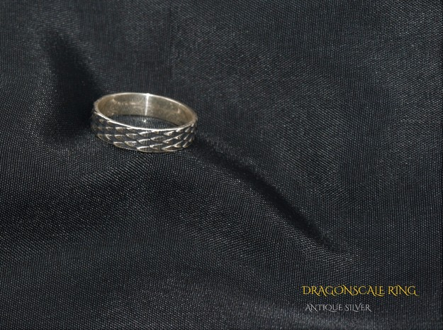Celtic Dragonscale Ring (Female version) in Antique Silver: 7.5 / 55.5