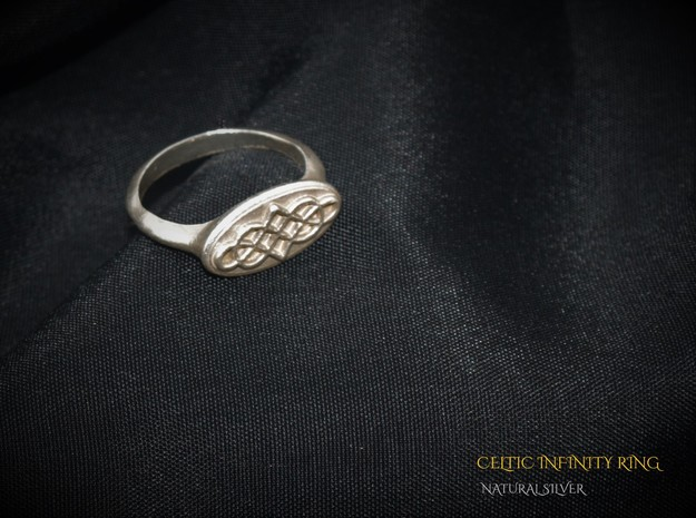 Celtic Infinity Ring  in Natural Silver: 7 / 54