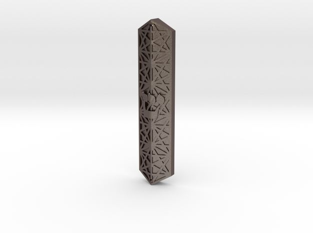 Hexagonal Mezuzah in Polished Bronzed-Silver Steel