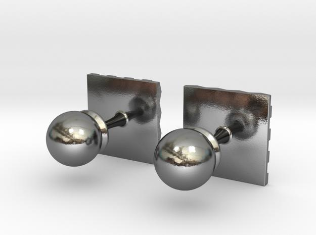 Chessboard Cufflinks in Polished Silver