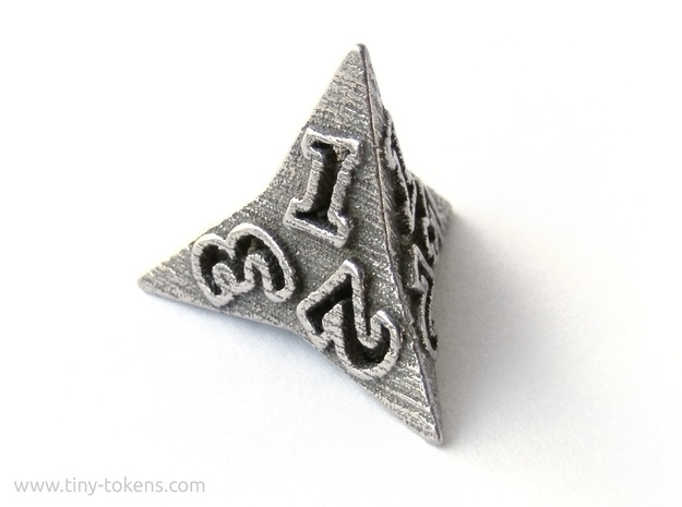 Faceted - D4, four sided gaming dice in Polished Bronzed-Silver Steel