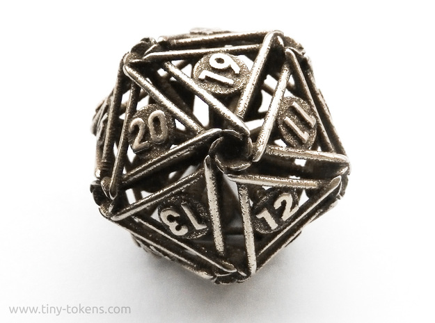 Spindown D20 Nails - Lifecounter Dice in Polished Bronzed-Silver Steel