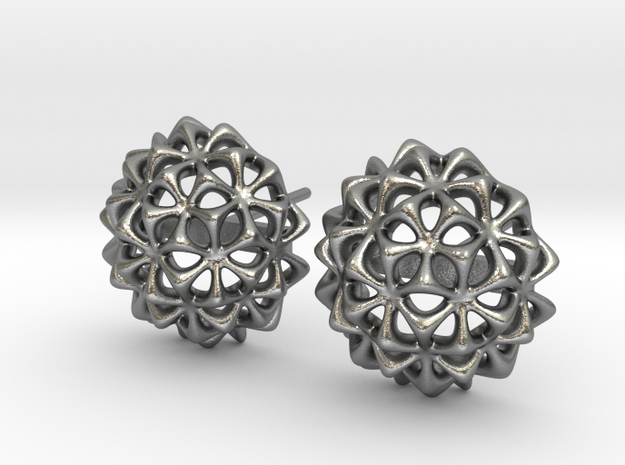 Virus Ball -- Stud Earrings in Cast Metals in Natural Silver