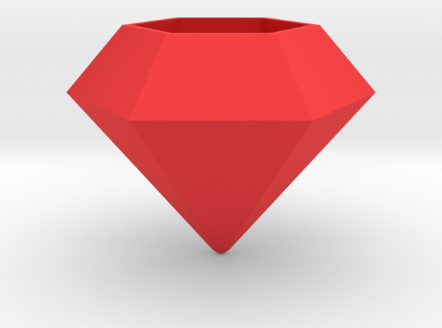 Diamond Planter in Red Processed Versatile Plastic