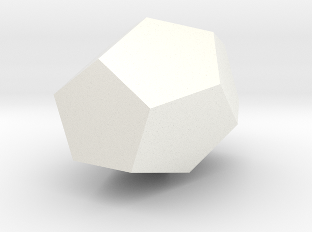 Enlongated Dodecahedron Vase in White Processed Versatile Plastic