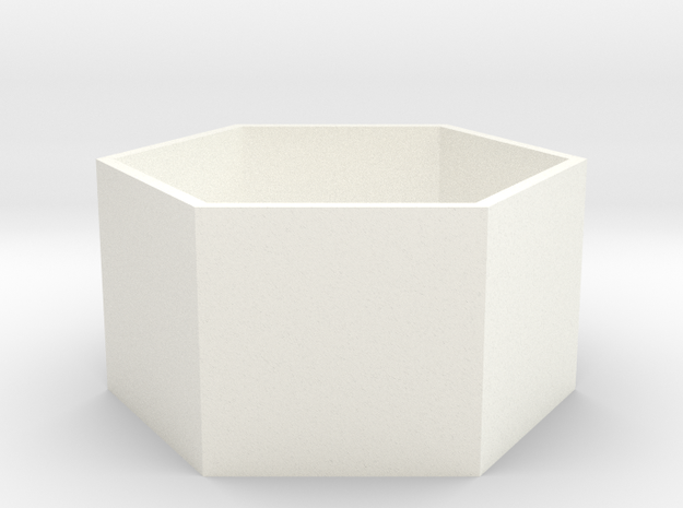 Shallow Hexagonal Planter in White Processed Versatile Plastic